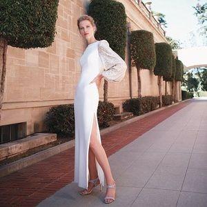 NWT {Eliza J} Sequin Balloon Sleeve Crepe Gown